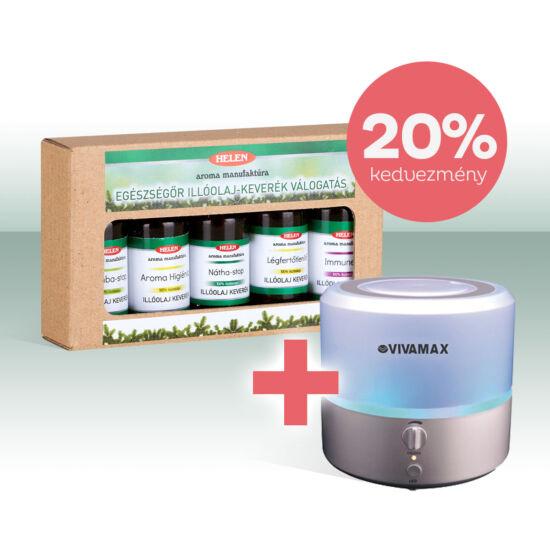 Egészségőr illóolaj-keverék  válogatás és Aroma diffúzor akciós csomag
